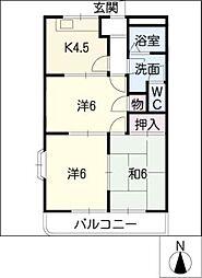 リバーハイム[2階]の間取り