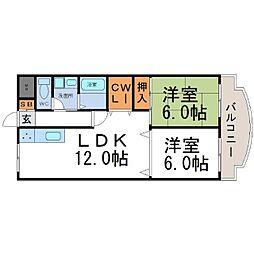 兵庫県尼崎市久々知1の賃貸マンションの間取り