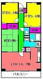 千葉県八千代市大和田新田の賃貸マンションの間取り