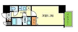 Osaka Metro堺筋線 北浜駅 徒歩3分の賃貸マンション 2階1Kの間取り
