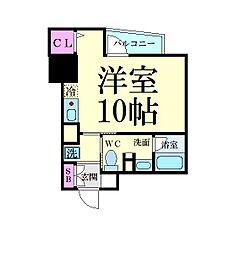 名古屋市営東山線 新栄町駅 徒歩8分の賃貸マンション 11階ワンルームの間取り