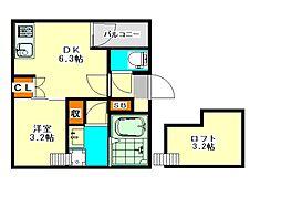 愛知県名古屋市中川区五月南通1丁目の賃貸アパートの間取り