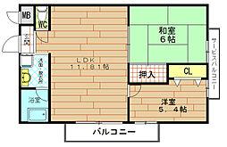 グリシナ野田[5階]の間取り