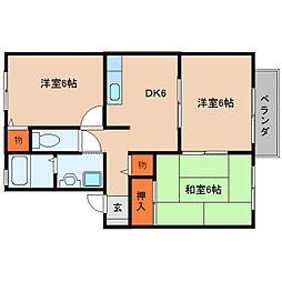 奈良県桜井市慈恩寺の賃貸アパートの間取り