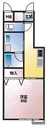 (仮)東古松4丁目マンション 5階1Kの間取り