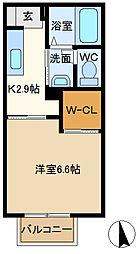 ラ・ロベリア 202[2階]の間取り