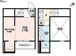 愛知県名古屋市西区中小田井4丁目の賃貸アパートの間取り