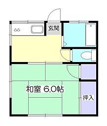 東京都東村山市野口町4丁目の賃貸アパートの間取り