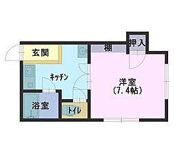 大生アパート 2階1Kの間取り