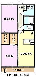 埼玉県川口市大字安行北谷の賃貸アパートの間取り
