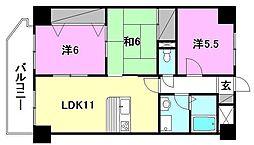 ファミール道後姫塚[201号室]の間取り