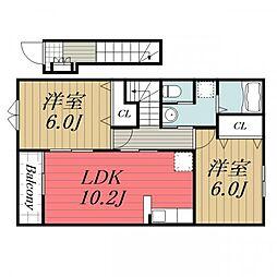 千葉県成田市久住中央2の賃貸アパートの間取り