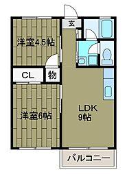 秋元ファミリーハイツ1号館[2階]の間取り