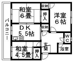 愛媛県松山市土居田町の賃貸アパートの間取り