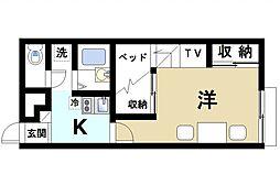 奈良県生駒市俵口町の賃貸アパートの間取り
