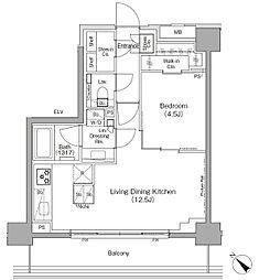 東京メトロ有楽町線 月島駅 徒歩1分の賃貸マンション 4階1LDKの間取り