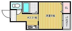 メゾンアベニュー相川[402号室]の間取り
