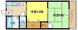 兵庫県姫路市田寺6丁目の賃貸アパートの間取り