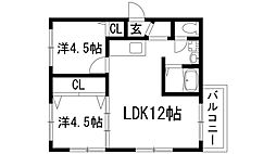 兵庫県宝塚市雲雀丘2丁目の賃貸マンションの間取り