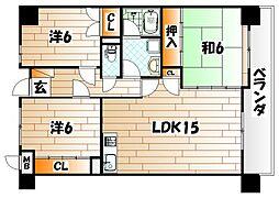 いわきマンション千防[3階]の間取り