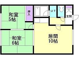 松尾マンション2号棟 1階2LDKの間取り