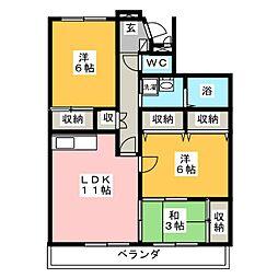 リネット多加木[5階]の間取り
