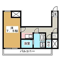 アートヒルズ 8階1Kの間取り