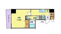 東京メトロ半蔵門線 水天宮前駅 徒歩3分の賃貸マンション 3階1Kの間取り