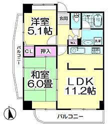 コーポレート竹の塚二丁目[406号室]の間取り