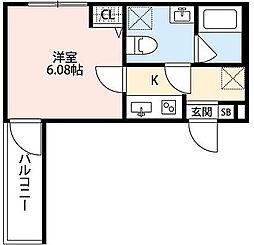 神奈川県大和市林間1の賃貸アパートの間取り