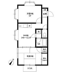 神奈川県相模原市南区東林間7の賃貸アパートの間取り