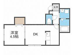 エースマンション 3階1DKの間取り