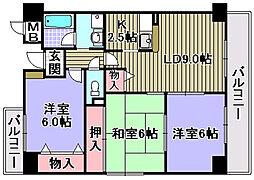 サンクレスト岸和田[303号室]の間取り
