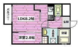 広島県安芸郡府中町鹿籠1丁目の賃貸アパートの間取り