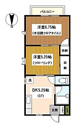 神奈川県横浜市鶴見区下末吉5丁目の賃貸アパートの間取り