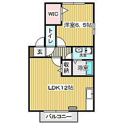 愛知県名古屋市中川区横前町の賃貸アパートの間取り