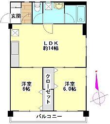 ガーデンフィール中央二番館(住居)[701号室]の間取り