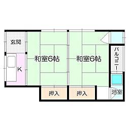 辰巳荘[南1号室]の間取り
