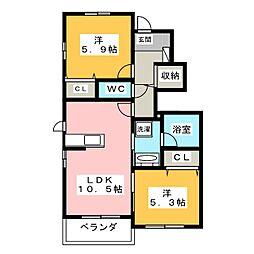 愛知県名古屋市瑞穂区下山町1丁目の賃貸アパートの間取り