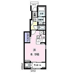 名古屋市営名港線 日比野駅 徒歩17分の賃貸アパート 1階ワンルームの間取り