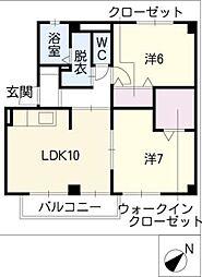 コーポファミールA棟[1階]の間取り