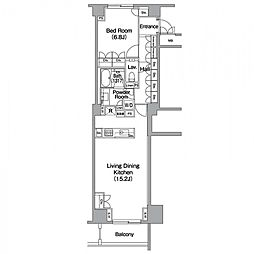 東京メトロ日比谷線 恵比寿駅 徒歩4分の賃貸マンション 4階1LDKの間取り