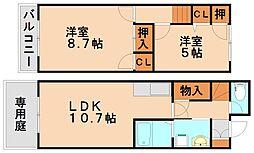 フロイデ若草[2階]の間取り
