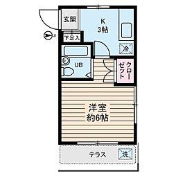 タチバナコーポ1[1階]の間取り
