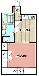 コスモス小倉駅前II 9階1DKの間取り