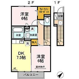 グランモアキワラ A棟[A202号室]の間取り
