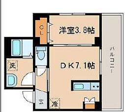 シーズガレリア目黒 3階1DKの間取り