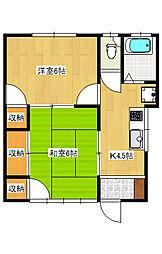 越戸町 アパート[1階]の間取り