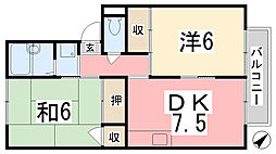 メゾン堀川B棟[202号室]の間取り