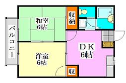 千葉県船橋市東町の賃貸アパートの間取り